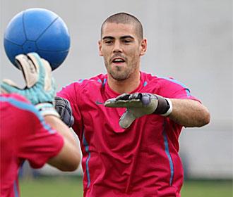 Vald�s, en un entrenamiento del Barcelona.