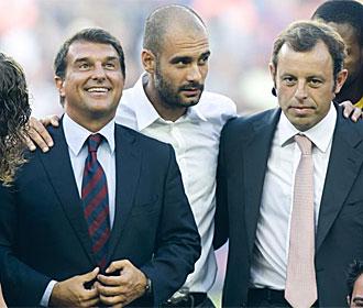 Laporta, Guardiola y Rosell en el �ltimo Joan Gamper.