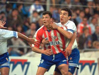 Luboslav Penev cuando militaba en las filas del Atl�tico de Madrid.