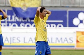 Javi Guerrero en el �ltimo partido de liga de Las Palmas