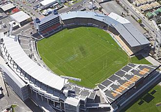 Vista a�rea del Jade Stadium, en Lancaster Park (Christchurch), un recinto que se ha visto afectado por el terremoto que sufri� Nueva Zelanda