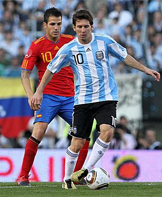 Leo Messi durante una acci�n en el partido frente a Espa�a