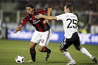 Ibrahimovic, durante su el partido de su debut con el Milan