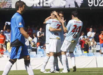 Los jugadores del Celta celebran un gol ante el C�rdoba