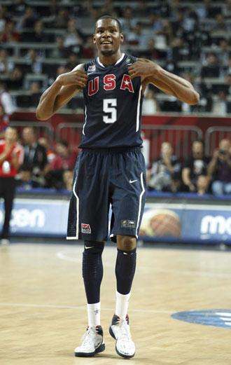 Kevin Durant, jugador de EE.UU., celebrando su triunfo en el Mundial