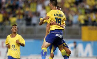 Cejudo celebra uno de los goles de Las Palmas contra el Alcorc�n
