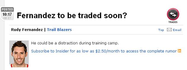 Informaci�n de la ESPN sobre el hipot�tico inminente traspaso de Rudy Fern�ndez