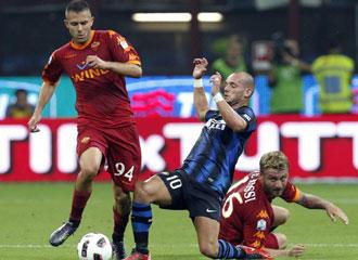 Un partido entre la Roma y el Inter