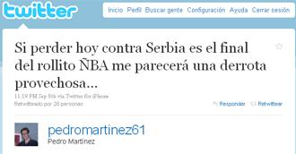 Mensaje de Pedro Mart�nez colgado en su cuenta de Twitter