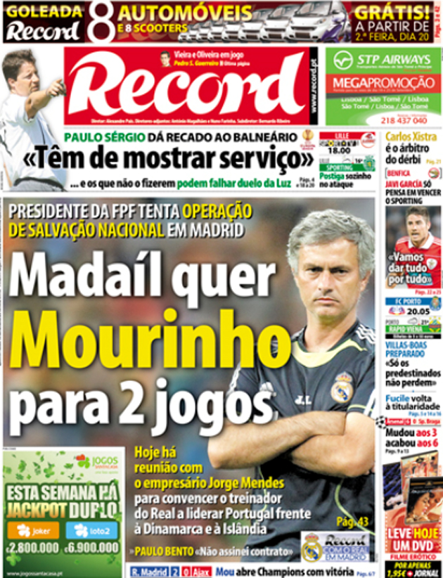Portada del diario deportivo Record