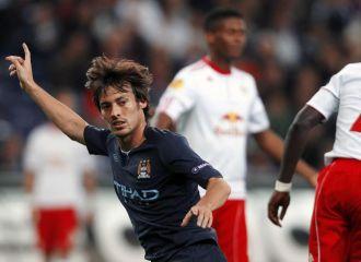 Silva celebra el 0-1