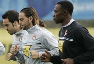 Sergio Garc�a en un entrenamiento del Espanyol