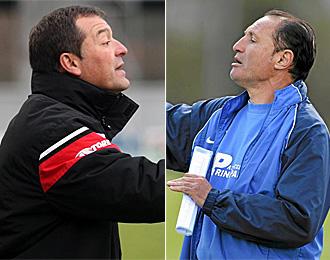 �ngel Viadero y Pichi Lucas, entrenadores del Pontevedra y del Oviedo, respectivamente