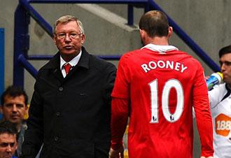 Wayne Rooney en el momento de su sustituci�n
