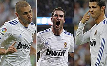 Benzema, Higua�n y Cristiano