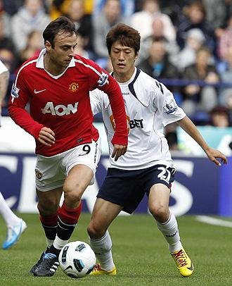 Berbatov, el hombre gol del Manchester United. Un gol suyo se cotiza a 2.54.