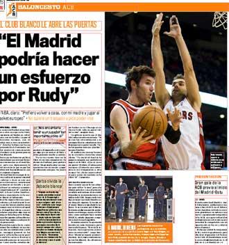 Informaci�n del diario MARCA sobre Rudy Fern�ndez y el Real Madrid