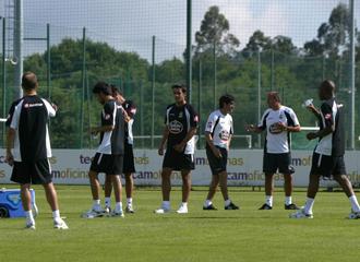 Lotina durante un entrenamiento del Deportivo.