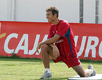 Richi, en un entrenamiento con el Murcia