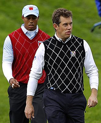 Westwood, en primer plano y Tiger, detr�s, en la reciente Ryder Cup