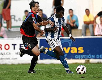 Sarpong, en un partido con la Real Sociedad