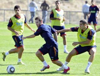 Juan Manuel Mata, durante un entrenamiento con la sub-21.
