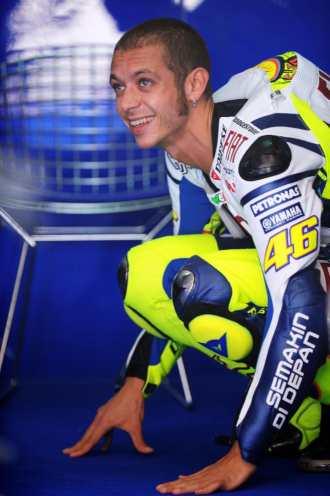 Valentino Rossi, en su 'box' en Sepang