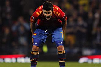 David Villa, durante el partido ante Escocia