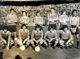Once del Racing en la temporada 77-78 con Arteche (tercero por la derecha en la fila de arriba)