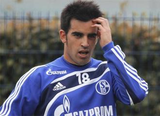 Jurado, en un entrenamiento con el Schalke 04.