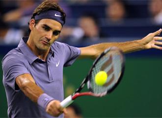 Federer, durante el partido