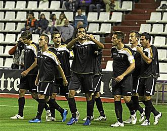 Los futbolistas del Albacete celebran el tanto marcado ante el Valladolid