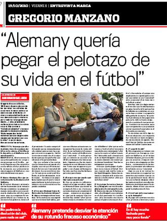 Entrevista a Manzano en el diario MARCA del 15 de octubre