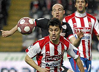 El Sporting en un partido de Liga