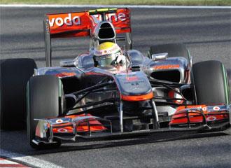 Hamilton, durante una carrera