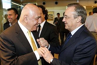 Adriano Galliani junto al presidente del Real Madrid, Florentino P�rez