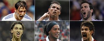 Ozil, Cristiano, Higua�n, Ibrahimovic, Ronaldinho y Pato