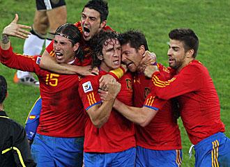 Espa�a celebra un triunfo en el Mundial de Sud�frica