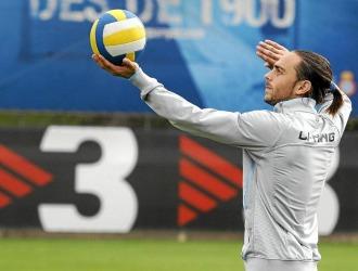 Sergio Garc�a, durante un entrenamiento del Espanyol.
