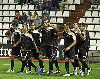 Los futbolistas del Albacete, celebrando un tanto logrado contra el Valladolid