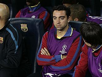 Xavi, en el banquillo el pasado mi�rcoles ante el Copenhague