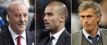 Del Bosque, Guardiola y Mourinho