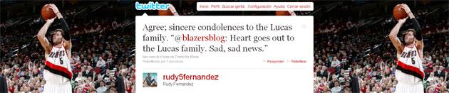Mensaje de condolencia de Rudy Fernández publicado en su cuenta de Twitter (@rudy5fernandez)
