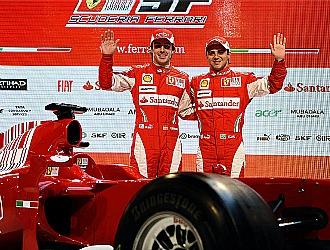 Alonso y Massa, en la presentaci�n de Ferrari del pasado mes de enero