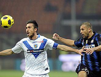 Walter Samuel, en el transcurso del partido ante el Brescia donde result� lesionado
