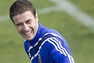 Gabi, durante un entrenamiento con el Zaragoza