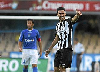 Toché celebra el gol marcado al Xerez