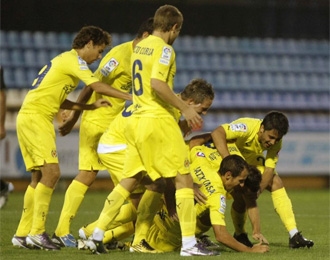 Los jugadores del Villarreal B, celebrando un tanto