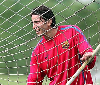 Maxwell, en un entrenamiento del Barcelona.