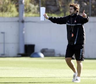 Mauricio Pochettino, en un entrenamiento del Espanyol.